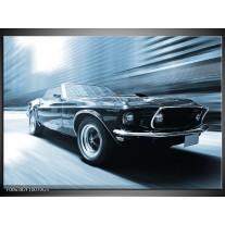 Glas Schilderij Auto, Mustang | Blauw, Wit