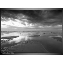 Glas Schilderij Zee | Grijs, Zwart, Wit