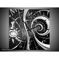 Wandklok Schilderij Abstract | Zwart, Wit, Grijs