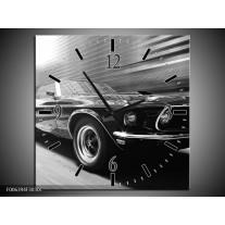 Wandklok Schilderij Auto, Mustang | Zwart, Grijs