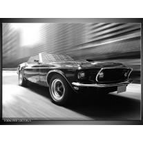 Glas Schilderij Auto, Mustang | Zwart, Grijs