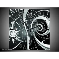 Wandklok Schilderij Abstract | Zwart, Grijs, Groen