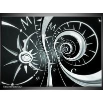 Glas Schilderij Abstract | Zwart, Grijs, Groen