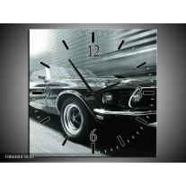 Wandklok Schilderij Auto, Mustang | Grijs, Groen, Zwart