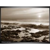 Glas Schilderij Zee, Strand | Sepia