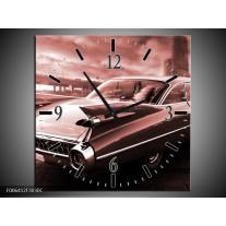 Wandklok Schilderij Auto, Oldtimer | Bruin, Rood