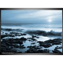 Glas Schilderij Zee, Strand | Blauw