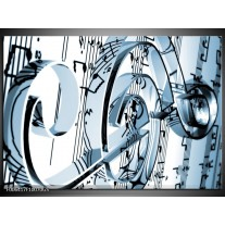 Glas Schilderij Muziek | Blauw, Wit