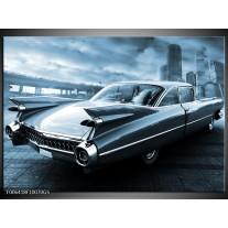 Glas Schilderij Auto, Oldtimer | Blauw
