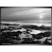 Glas Schilderij Zee, Strand | Zwart, Grijs