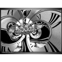 Glas Schilderij Abstract   Zwart, Wit, Grijs