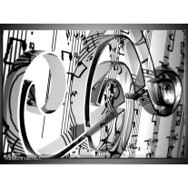 Glas Schilderij Muziek   Zwart, Wit, Grijs