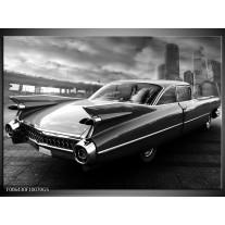 Glas Schilderij Auto, Oldtimer | Zwart, Grijs