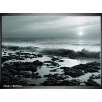 Glas Schilderij Zee, Strand | Grijs, Groen