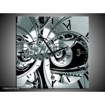 Wandklok Schilderij Abstract | Grijs, Zwart, Groen