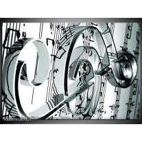 Glas Schilderij Muziek | Grijs, Wit, Groen