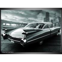 Glas Schilderij Auto, Oldtimer | Zwart, Grijs, Groen