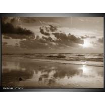 Glas Schilderij Zee   Sepia