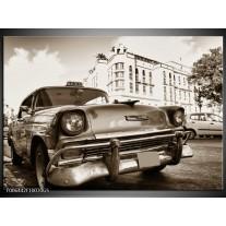 Glas Schilderij Auto, Oldtimer | Sepia