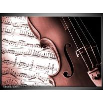 Canvas Schilderij Muziek | Bruin, Rood