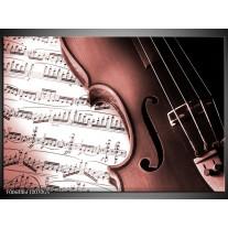 Glas Schilderij Muziek | Bruin, Rood