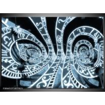 Glas Schilderij Abstract | Blauw, Zwart