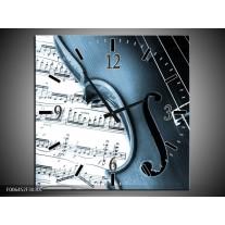 Wandklok Schilderij Muziek | Blauw, Grijs, Wit