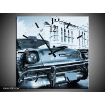 Wandklok Schilderij Auto, Oldtimer | Blauw