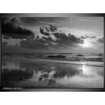 Glas Schilderij Zee | Zwart, Grijs