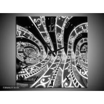 Wandklok Schilderij Abstract   Zwart, Grijs, Wit