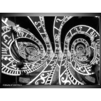 Glas Schilderij Abstract   Zwart, Grijs, Wit