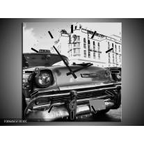 Wandklok Schilderij Auto, Oldtimer | Zwart, Grijs, Wit