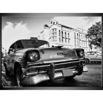 Glas Schilderij Auto, Oldtimer | Zwart, Grijs, Wit