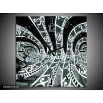 Wandklok Schilderij Abstract | Grijs, Groen