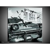 Wandklok Schilderij Auto, Oldtimer | Grijs, Groen, Wit