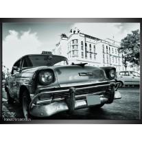 Glas Schilderij Auto, Oldtimer | Grijs, Groen, Wit