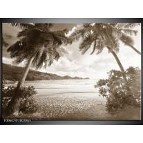 Glas Schilderij Zee, Strand   Sepia