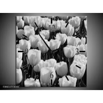 Wandklok Schilderij Bloem, Tulpen   Zwart, Grijs