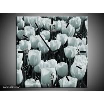 Wandklok Schilderij Bloemen, Tulpen | Grijs, Groen