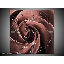 Wandklok Schilderij Roos | Bruin, Rood