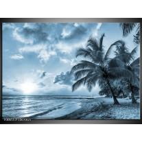Glas Schilderij Zee, Strand | Blauw, Grijs