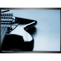 Glas Schilderij Muziek | Blauw, Grijs