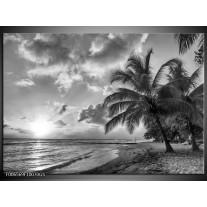 Glas Schilderij Zee, Strand | Grijs, Zwart