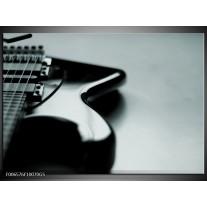 Glas Schilderij Muziek | Grijs, Zwart, Groen
