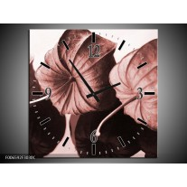 Wandklok Schilderij Bloem | Bruin, Rood