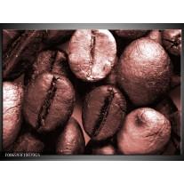 Glas Schilderij Koffiebonen, Keuken | Bruin, Rood