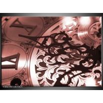 Glas Schilderij Klok | Bruin, Rood