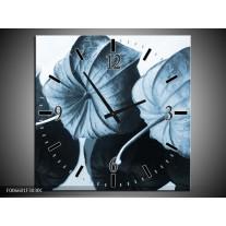 Wandklok Schilderij Bloem | Blauw, Wit