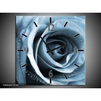 Wandklok Schilderij Roos, Bloem | Blauw, Grijs, Wit