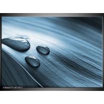 Glas Schilderij Macro, Druppel   Blauw, Grijs